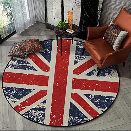 Teppich,R&er rutschfester Wohnzimmerteppich,Klassischer roter blauer weißer Flaggenteppich,Geeignet für Wohnzimmer Schlafzimmer Restaurant Veranda Couchtisch Dekoration Teppiche,120cm Diameter
