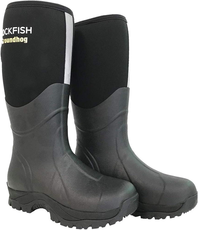 Rockfish Mens Neoprene Lined Groundhog Wellington Boots (12 US) (Black)
