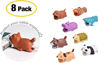 (8-Pack) Animal Bites Cable Protector Gift Set [ Cat. Clownfish, Hippo, Panda, Hedgehog, Raccoon, Orange Dog, Dot Shark] Cable Buddies for iPhone Lightning Cable