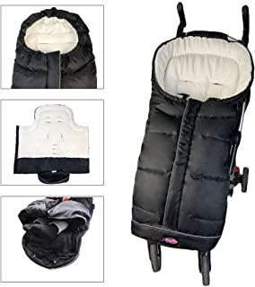 Weather Proof Oudtoor Walking Universal Stroller Bunting Bag with Reflective Strips,Multi-Zippers,Central and Feet Area Opens,Easy for Baby in&Out&Temperature Regulation Footmuff for Stroller,Black