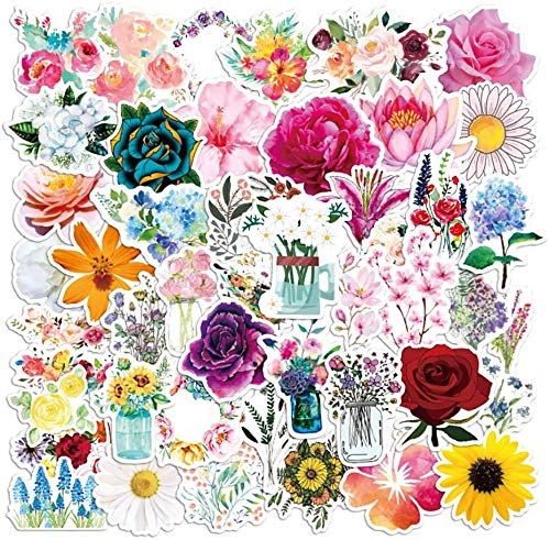 Flower Stickers, 50 Pcs Vinyl Floral Sticker Pack for Water Bottle, Laptop, Phone Case, Car, Waterproof Aesthetic Flower Decal Stickers for Girls, Kids, Women Gifts