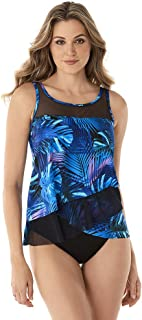 Miraclesuit Women's Swimwear Royal Palms Mirage Scoop Neck Underwire Bra Asymmetrical Tankini Bathing Suit Top