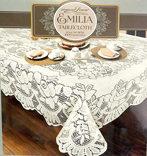 American White Lace Emilia Tablecloth Machine Washable Ideal for Formal Dinner Parties (70