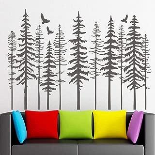 Calcomanías De Pared De Bosque De Pinos Grandes - Calcomanías De Pared De Árbol Modern Nature Decor, Pine Tree Silhouette Wall Sticker Living Decor107X57Cm