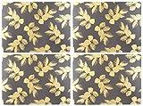 Portmeirion Home & Gifts Mantel Individual con Hojas grabadas, cerámica, Gris, 31 x 40 x 2.4 cm