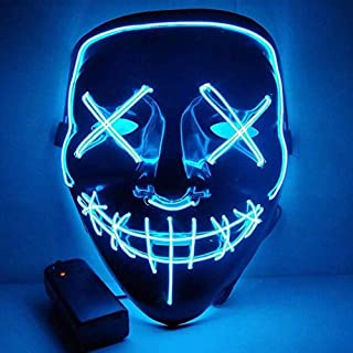 Flywind Halloween Led Mask El Wire Light Up Mask for Halloween Festival Party Blue