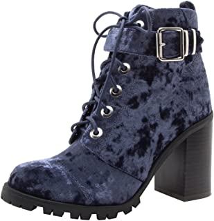 Qupid Women's Lace-Up Ankle Strappy Buckle Chunky Stacked Heel Ankle Bootie (6.5 B(M) US, Dark Blue)