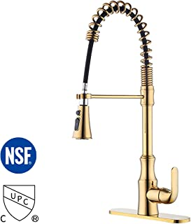 KES Brass Kitchen Sink Faucet with Pull Down Sprayer Titanium Gold cUPC NSF Certified Single Handle Pull Out Faucet, L6936BLF-PG