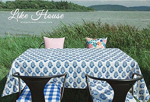 HXC Home Tuintafel, 85 x 85 cm, blauw beige, bloemenpatroon, landelijke stijl, rechthoekig, vierkant, non-irroning, eco-friendly table runner