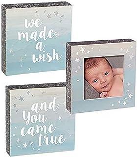 "Grasslands Road 465480 We Made A Wish Plaque & Frame Set-Blue Baby Product, 5 7/8"" x 5 7/8"""