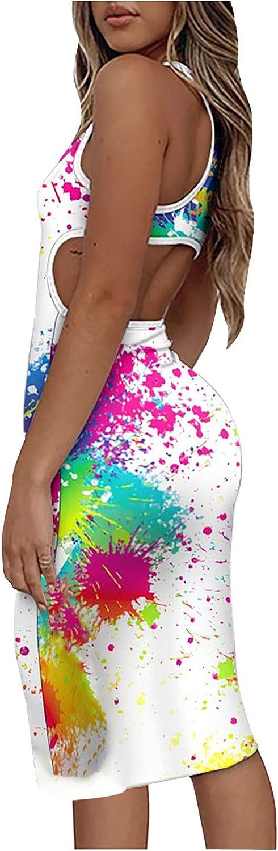 Sexy Bodycon Dress for Women O Neck Sleeveless Oil Splash Tie Dye Dress Backless Waisted Slim Dress