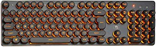 Prosperveil K100 Steampunk Retro - Teclado mecánico con Cable USB retroiluminado para Videojuegos Naranja Naranja