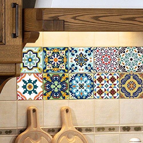 EXTSUD 10 stück Stickerfliesen 20x20 cm Fliesenaufkleber Fliesenfolie Mosaikfliesen Fliesen-Sticker Folie Aufkleber Selbstklebende Fliesenbilder für Badezimmer Küche Deko (20x20cm, Mittelmeer 2)