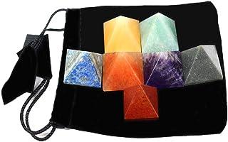 Set of 7 (SEVEN) Pyramid Chakra Set -- Engraved Pyramid Shaped Chakra Stone - Reiki - Metaphysical - Crafting with Rock Pa...