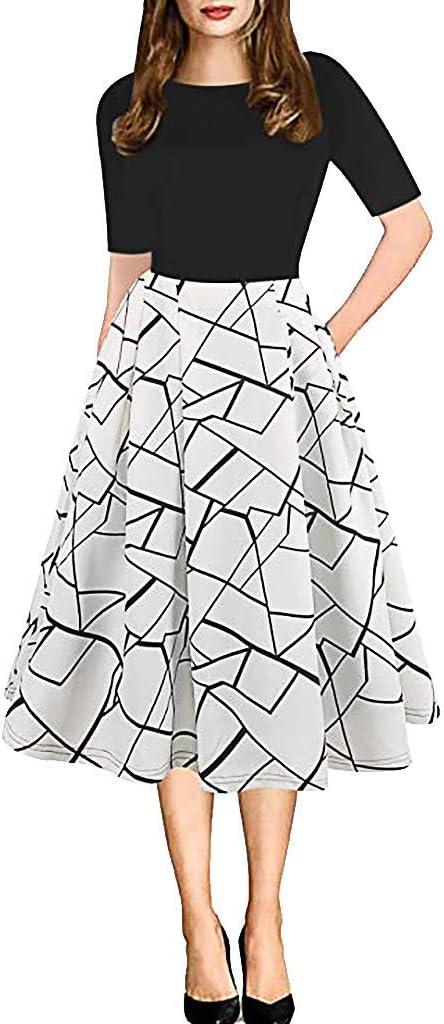 YOMXL Womens Elegant Dress Vintage Floral Max 78% OFF Patchwork Deluxe A-L Pockets