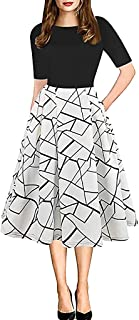 TINGZI Women's Elegant Vintage Mosaic Flower Print Cocktail Party Party Evening Dress Fashion High Waist A-Line Dress Summer Casual Daily Work Puff Dress