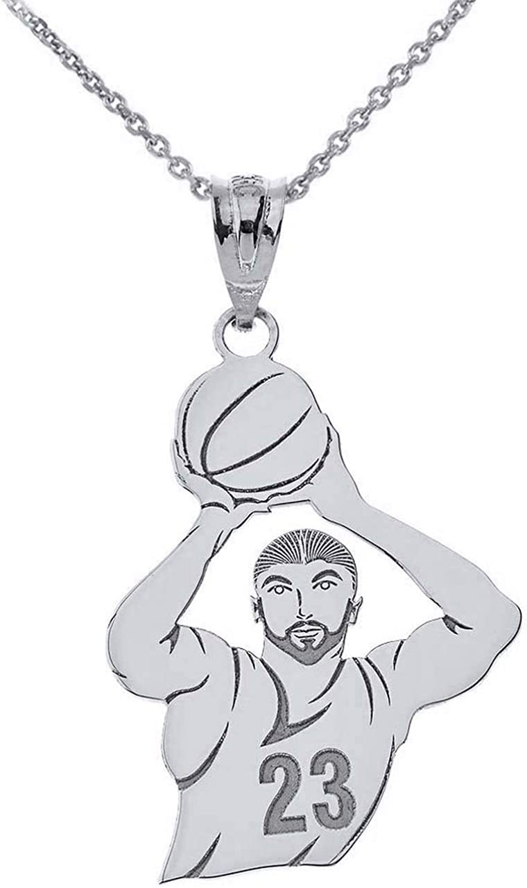 Personalized Sterling Attention brand Silver Basketball Max 77% OFF Player Shot Taking Nec A