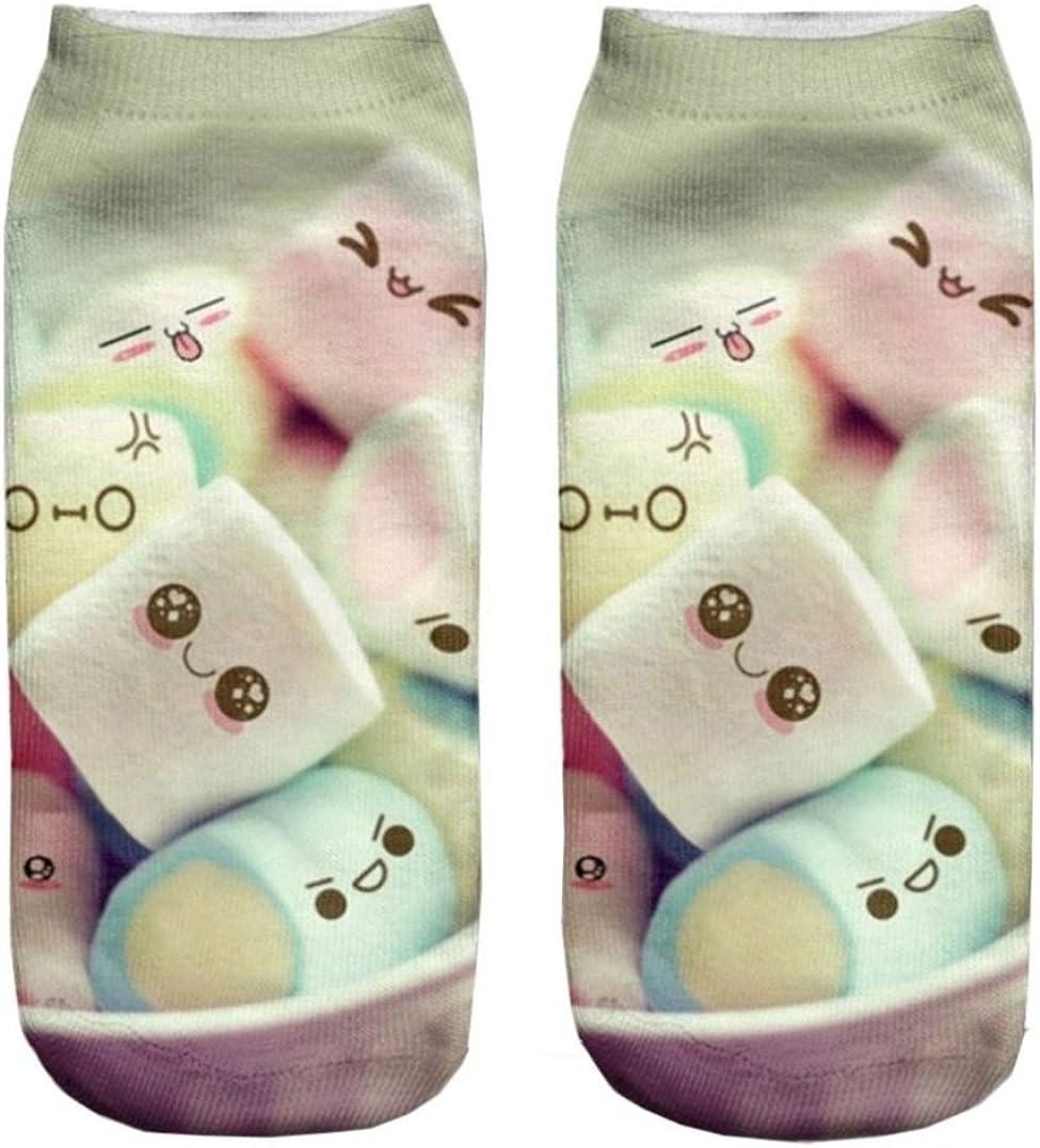 Doxi 3D Printed Unisex Cute Low Cut Ankle Socks Harajuku Style Jelly Foam