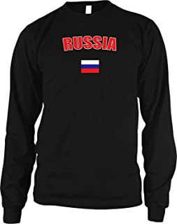 Amdesco Russia Country Flag Men's Long Sleeve Thermal Shirt