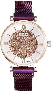 Female Models Golden Purple Creative Ladies Magnet Buckle Diameter 32mm Glass + Alloy + Stainless Steel Milan Strap Quartz Wrist Watch