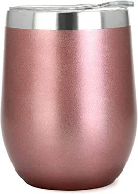PURECUP Stainless Steel Insulated Wine Tumbler With Lid,12 oz,Double Wall Vacuum Insulated Cup,For Champaign,Cocktail, Beer,Coffee,Drinks,BPA Free(Rose Gold 1 Pack)