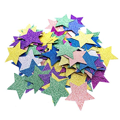 IWILCS 200 Pcs Schaumstoff Sticker Glitzernde Moosgummi Schaumstoff Sticker Stern Für Kids Craft Verzierungen zum Dekorieren Scrapbooking & Kartenherstellung Mischfarben