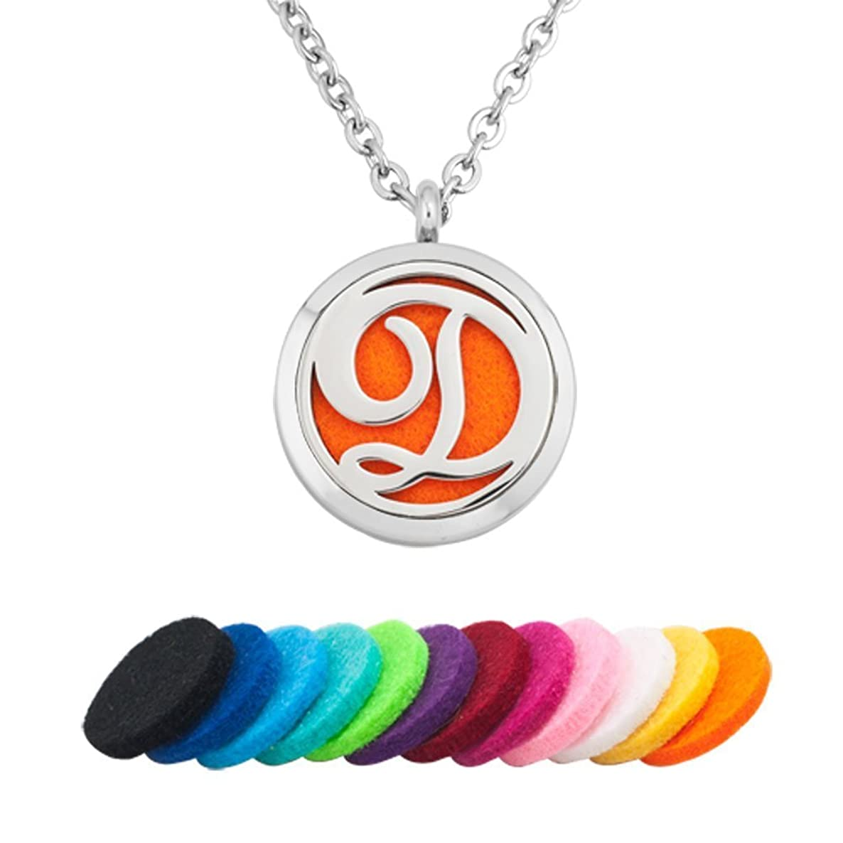 Jesse Ortega Aromatherapy Essential Oil Diffuser Locket Necklace Monogram Alphabet Initial Letter A-Z for Women Men Pendant Stainless Steel