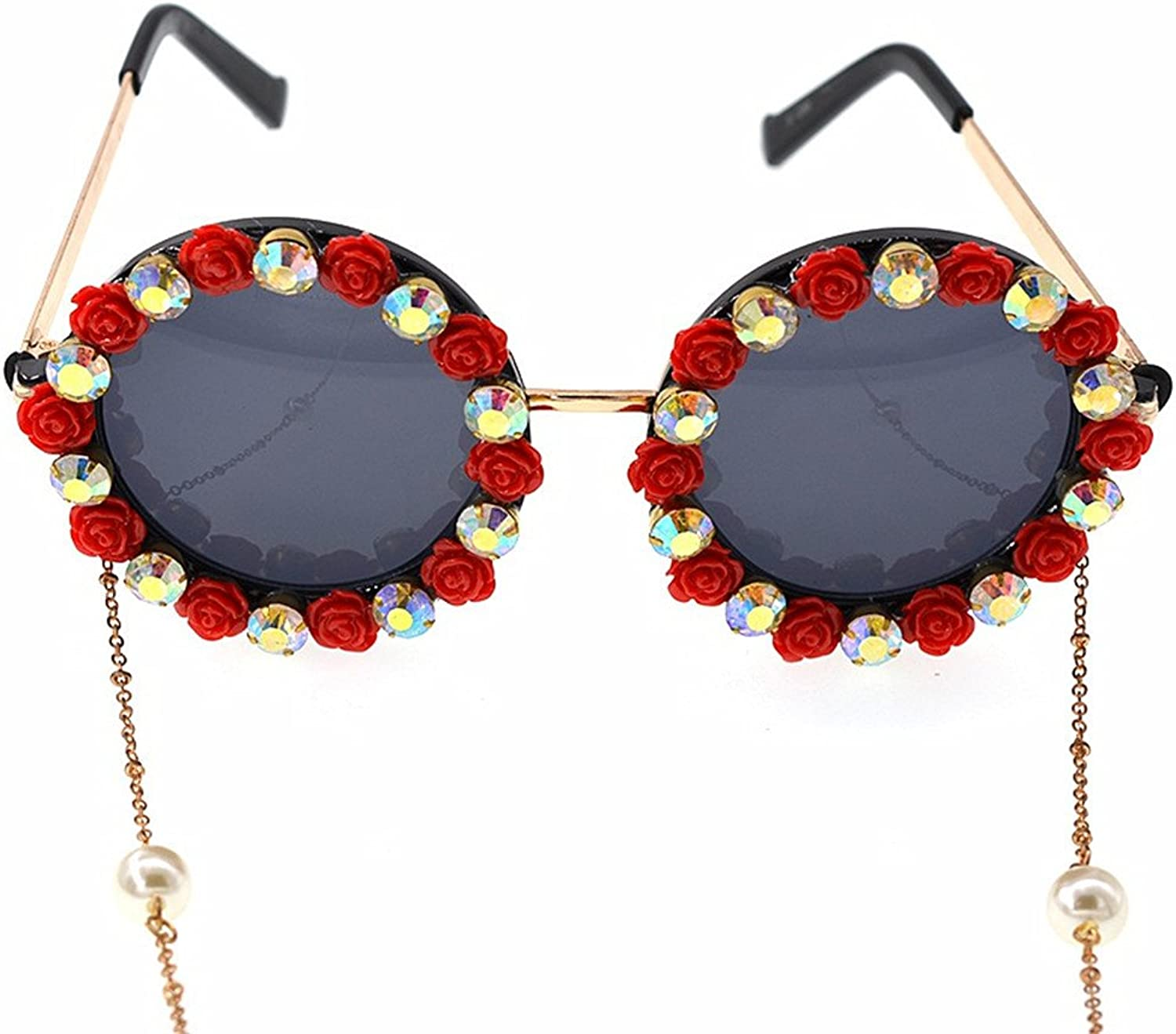 LIDESMUKG Romantic Red pink Handmade Metal gold Flower Baroque Sunglasses for Women Crystal Eyewear Retro Style Tassel Chain Sunglass