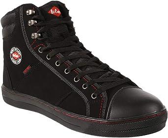 Lee Cooper Workwear SB/SRA Retro Baseball Boot, Unisex Modern Styling Safety Boot Work Safety Shoe, Boot Black, 10 UK (44 EU)