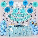 Zerodeco Geburtstagsdeko, Happy Birthday Wimpelkette Banner Girlande mit Pompoms Papier Girlande Fans Fächer Dreieckige Wimpel Spiral Girlanden und Luftballon - Blau - 2
