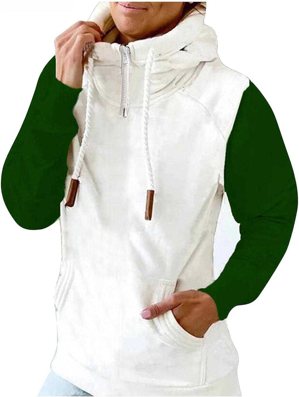 COMVALUE Hoodies for Women,Women Casual Zipper Color Block Long Sleeve Lightweight Pullover Sweatshirts