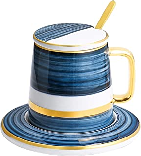 Coffee Mugs القدح المطلي مع غطاء ملعقة وسوكر، كأس السيراميك، كأس القهوة 350 مل، كوب الشاي، كوب ماء، كوب الحليب Home Decor