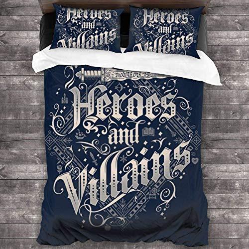 Heroes and Villains Once Upon A Time Juego de Cama de 3 Piezas Funda nórdica, Juego de Cama Decorativo de 3 Piezas con 2 Fundas de Almohada