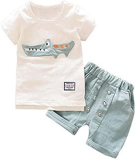 Goodlock Toddler Kid Fashion Clothes Baby Boy Outfits Clothes Cartoon Print T-Shirt Tops+Shorts Pants Set