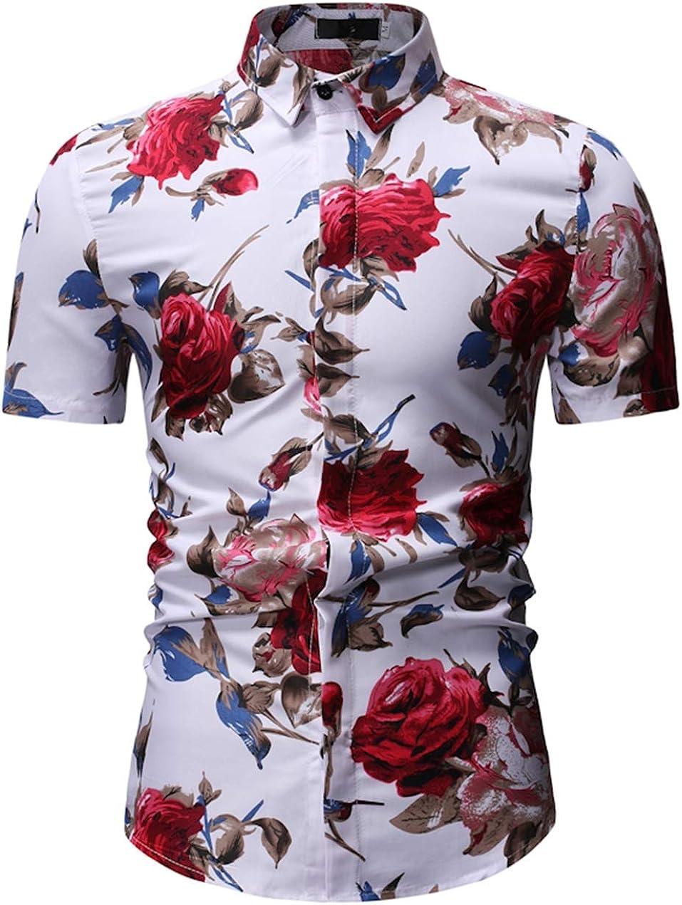 Men's Large Size Shirt Casual Lapel Slim Hawaiian Beach Print Shirt Shirt Simple and Versatile