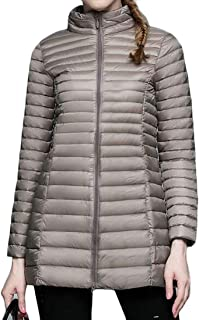 Macondoo Women's Casual Puffer Stand Collar Lightweight Quilted Down Coat