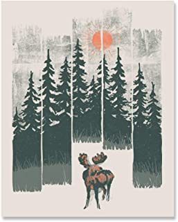 Moose Wilderness Art Print Beautiful Outdoor Wildlife Inspiration Wall Art Forest Landscape Nature Lover Wall Decor Calming Woodland Animals Sunshine Trees Mountains Lake Home Decor 8 x 10 Inch