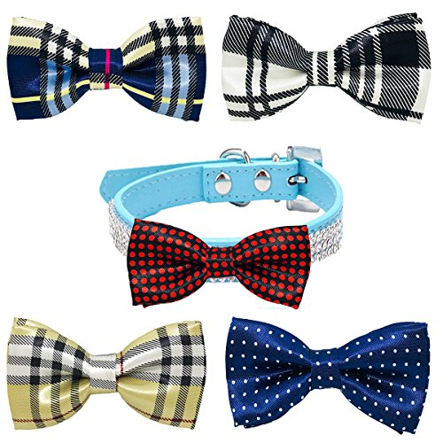 PET SHOW Pet Small Dogs Collar Embellishment Attachment Bow ties Puppies Cats Collar Charms Accessories Slides Bowties For Birthday Wedding Parties Assorted A Style Assorted B Styles Pack of 5