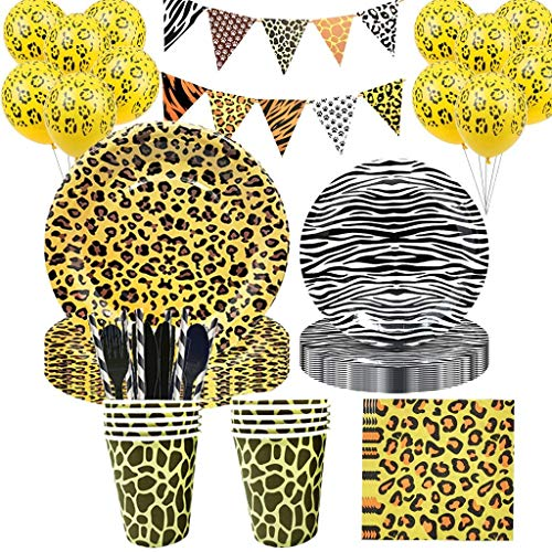 Animal Print Paper Cups, Plates, Napkins and Flag Banners Party Set. 111 pcs.