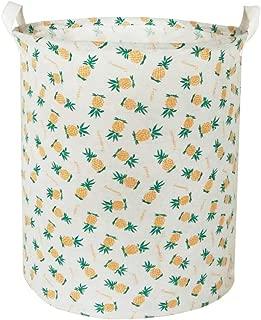 BOOHIT Cotton Fabric Storage Bin,Collapsible Laundry Basket-Waterproof Large Storage Baskets,Toy Organizer,Home Decor (Pineapple)