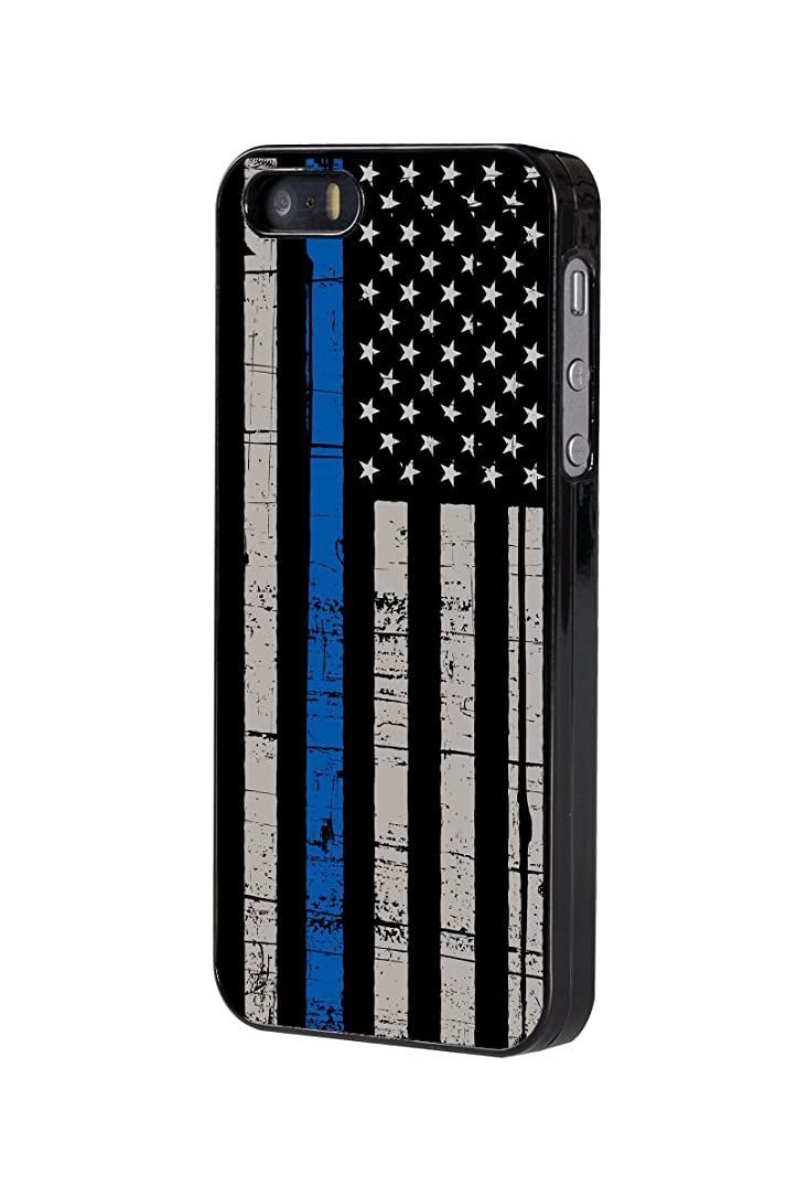iPhone 5/5s/SE Case,BWOOLL Thin Blue Line American Flag Black Hard Plastic Protective Cover for Apple iPhone 5/5s/SE