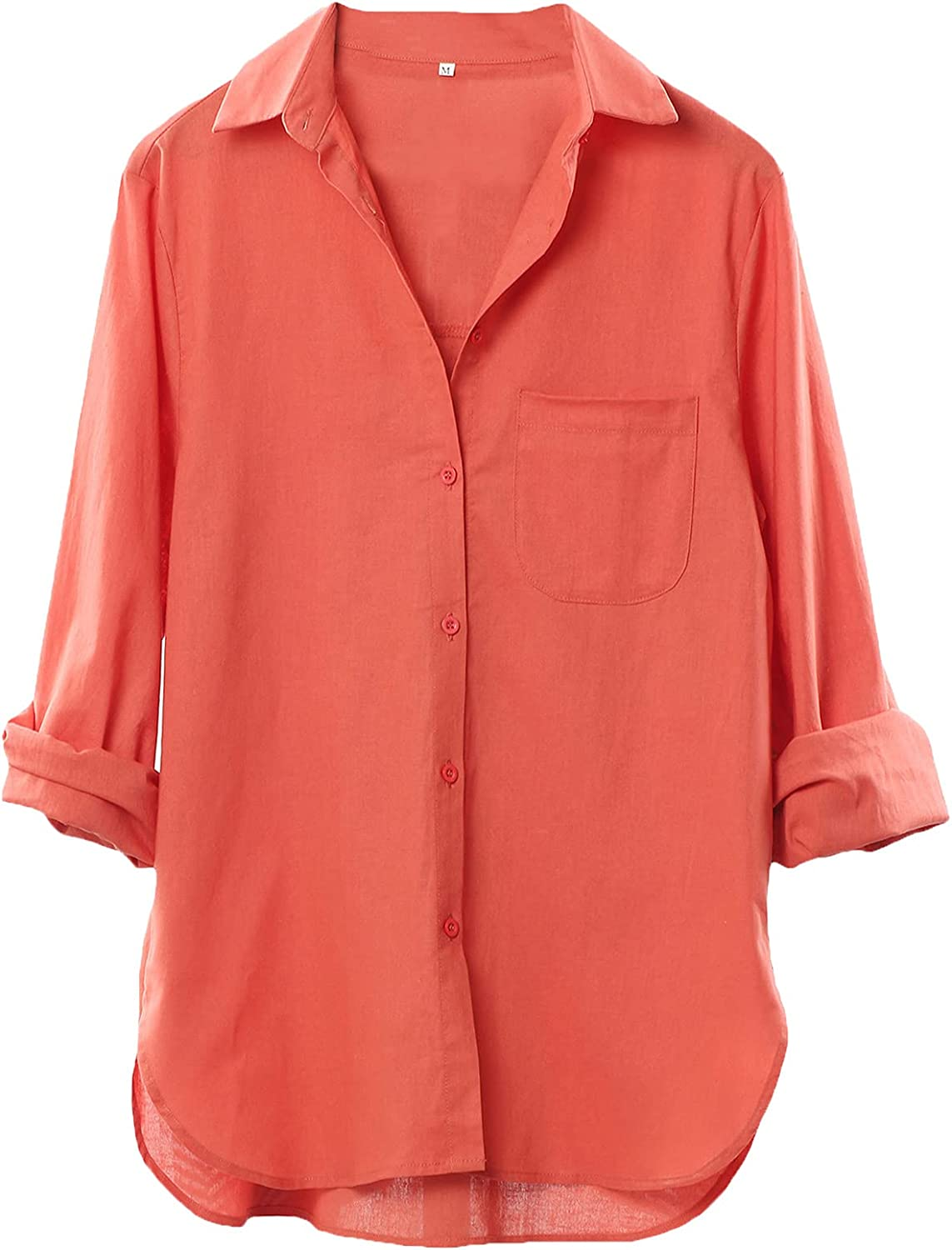 LaovanIn Women's Linen Shirts Button Down V Neck Shirt Long Sleeve Blouse Casual Plain Tops with Pockets