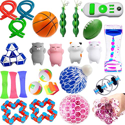 28 Pack Sensory Fidget Toys Set Liquid Motion Timer/Grape Ball/Flippy Chain/Stretchy String/Squeeze-a-Bean Soybeans/Slime/Mesh & Marble/Mochi Squishy for ADHD Autism Stress Anxiety Relief Adult Kids
