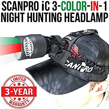 Wicked Lights ScanPro iC 3-Color-in-1  Green Red White LED  Night Hunting Headlamp Kit with Intensity Control for Coyote Predator Varmint & Hogs