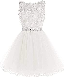 Jonlyc Beaded Appliques Tulle Homecoming Dresses Short Cocktail Prom Gowns for Women