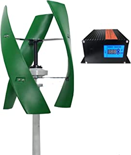 RDJM Turbina eólica Vertical Axies 600W generador de energía eólica, turbina de 12V 24V 48V Gratuito de Energía Eólica con MPPT regulador híbrido, 24v (Color : 12v)