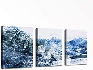 Canvas Wall Art for Bedroom Decor Watercolor Painting Mountain with Snow and Pine Forest in Winter - 3 Panels Modern Framed Art HD Pictures Canvas Prints for Home Bathroom Decor 12x16inch 3pcs/set