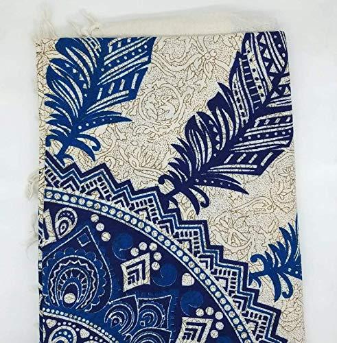 Goodforgoods Decoración de Mandala y Elefantes para la Playa, Piscina, tapicería Cubre Sofa, Mesa sillón, decoración Pared. 100% algodón 210x240 cm. (Azul y Blanco 1, 206x230)