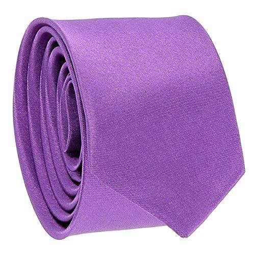 Cravate Fine Violet clair - Cravate Homme Coupe Slim Moderne - 5cm à la Pointe - Couleur Unie - Accessoire Chemise pour Mariage, Cérémonie