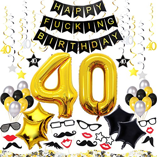 40th Birthday Decorations Kit 77 Pieces – Happy Fcking Birthday Banner, 40-Inch 40 Gold balloons, Sparkling Hanging Swirls, Photo Booth Props, Confetti for Table Decorations, Birthday Plan Checklist